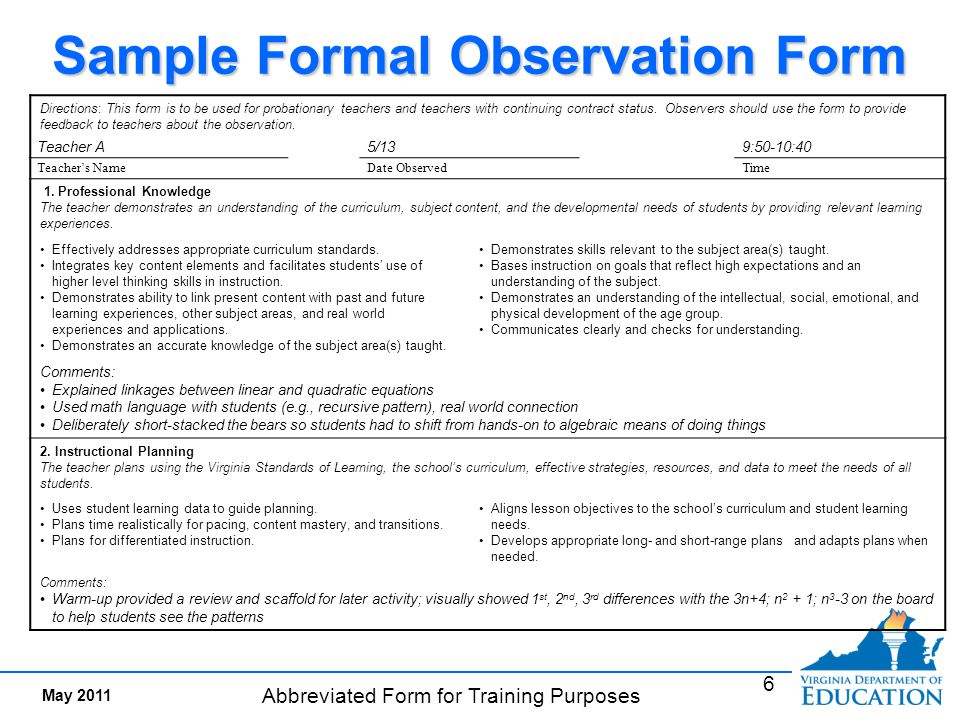 Collaborative Teaching Observation Form : Sample of classroom observation report