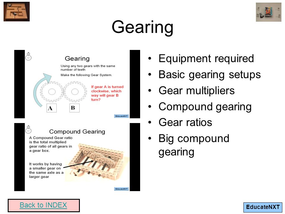 Gearing Equipment required Basic gearing setups Gear multipliers