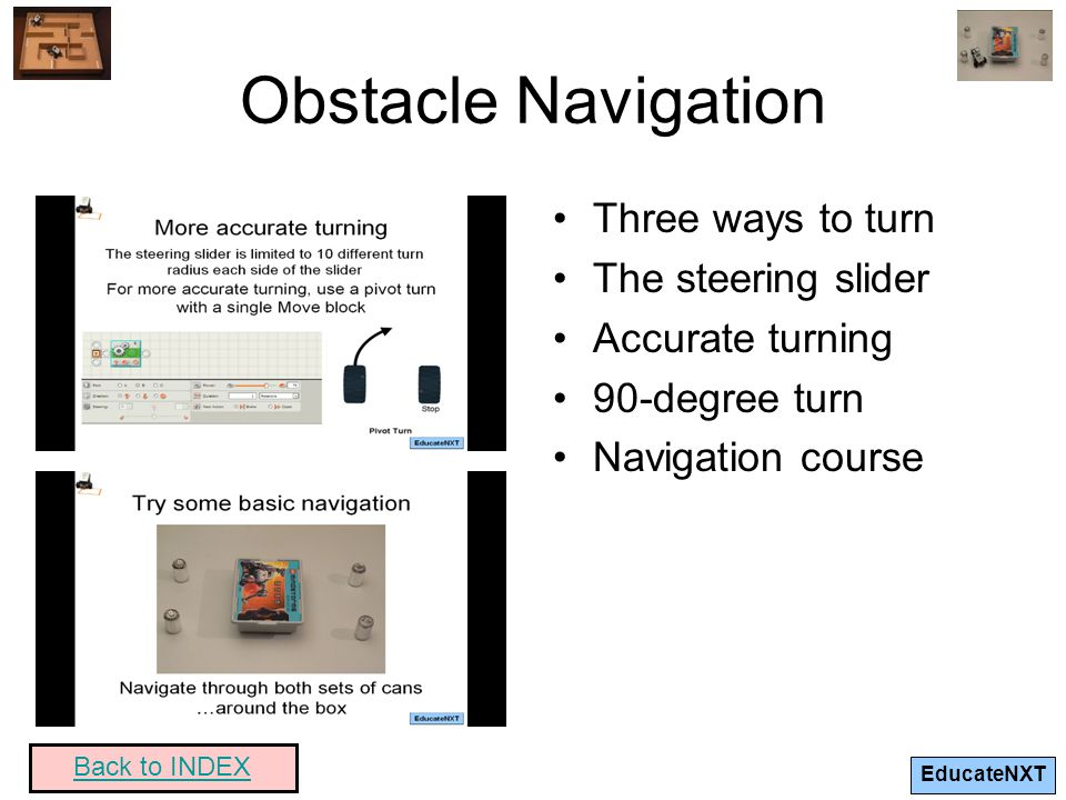 Obstacle Navigation Three ways to turn The steering slider