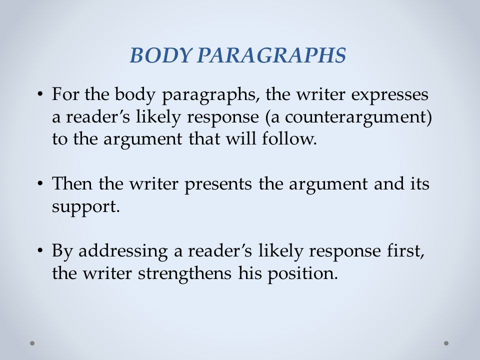 BODY PARAGRAPHS For the body paragraphs, the writer expresses a reader's likely response (a counterargument) to the argument that will follow.