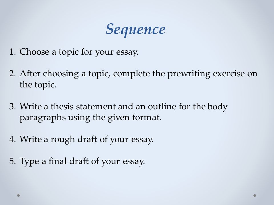 Sequence Choose a topic for your essay.