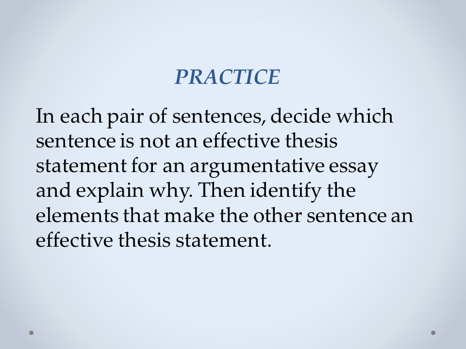 elements of an effective argumentative essay