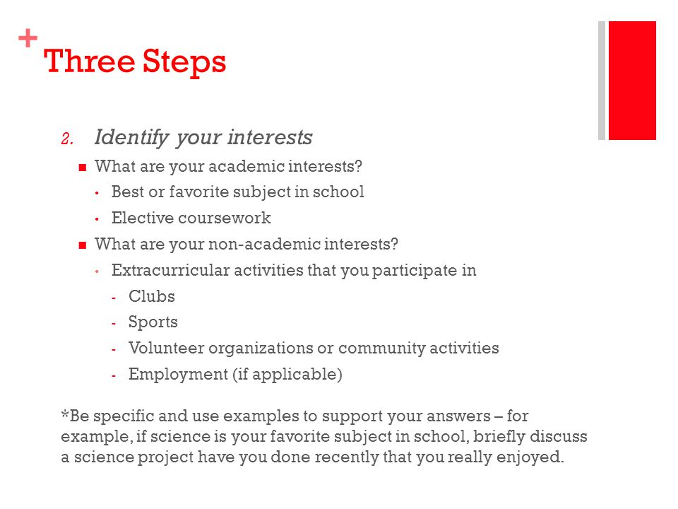 Three Steps Identify your interests What are your academic interests