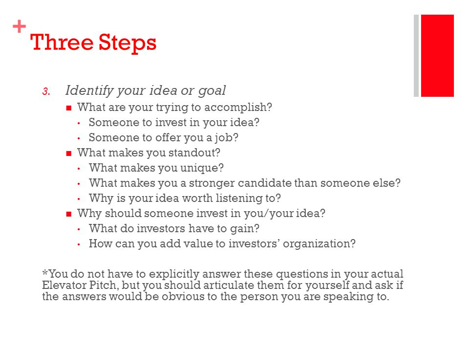 Three Steps Identify your idea or goal
