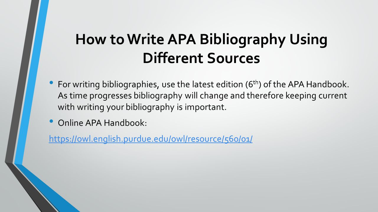 Apa bibliography how to write