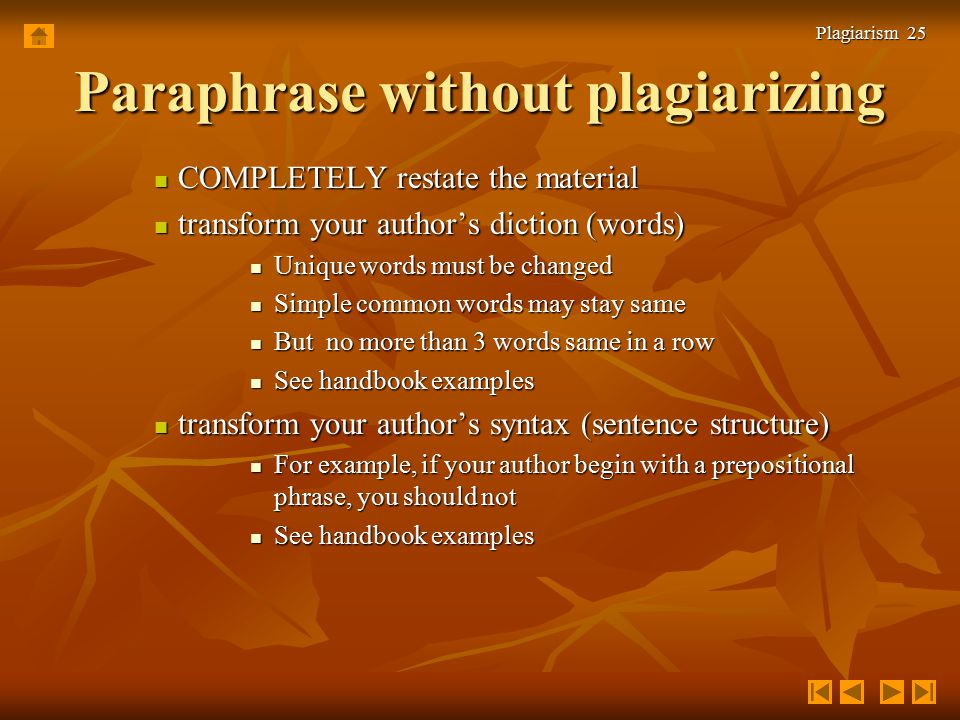paraphrasing process of restating an author s Used with longer texts, the main aim of summarizing is to reduce or condense a  text to  to write a good summary, you should follow this procedure: 1  in your  conclusion, restate the conclusion drawn by the writer of the original 7 always.