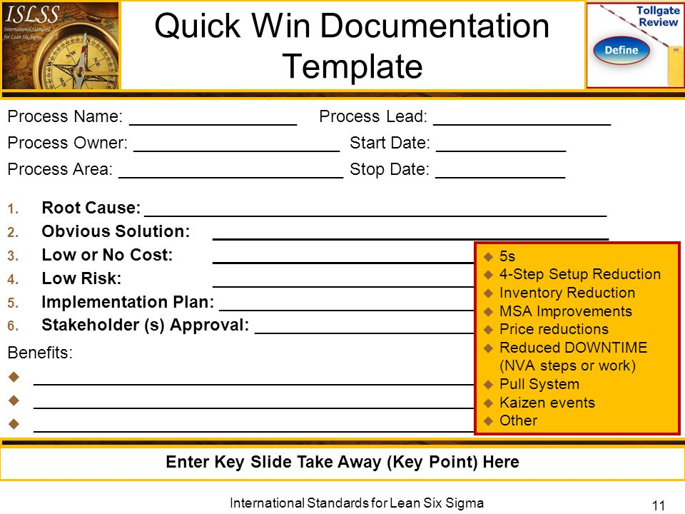 Measure phase lean six sigma measure phase tollgate review ppt quick win documentation template pronofoot35fo Images