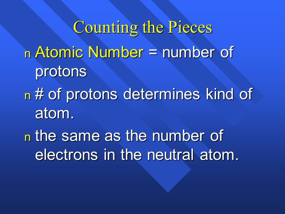 Counting the Pieces Atomic Number = number of protons