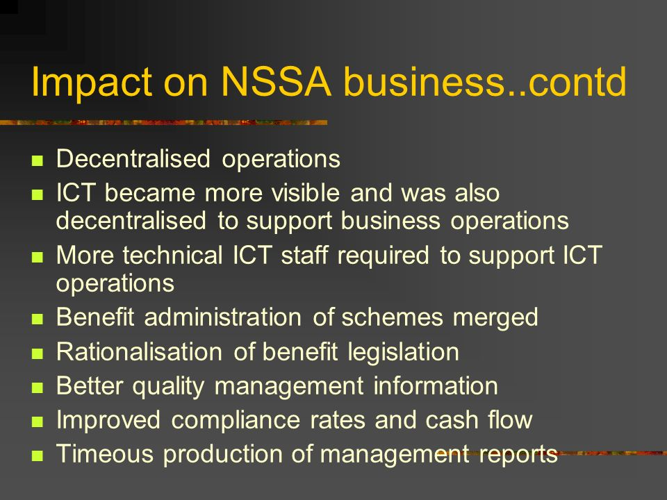 Impact on NSSA business..contd