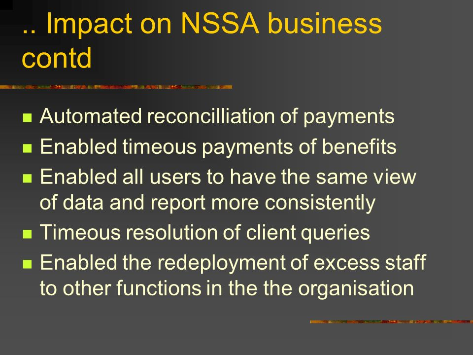 .. Impact on NSSA business contd