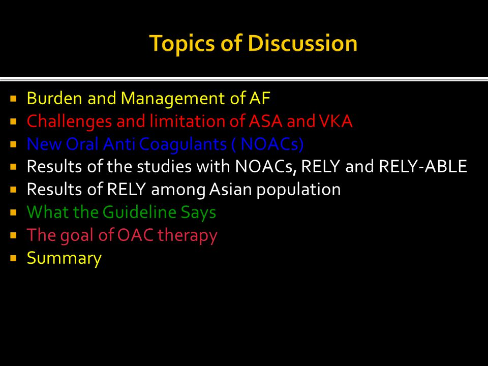 Topics of Discussion Burden and Management of AF