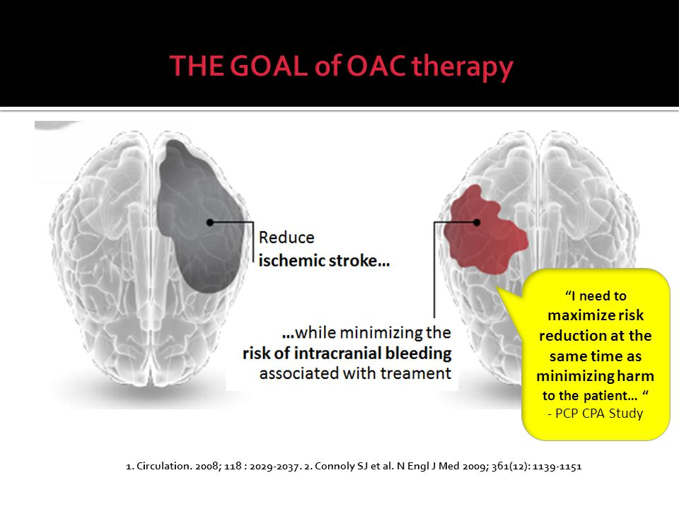 THE GOAL of OAC therapy I need to maximize risk reduction at the same time as minimizing harm to the patient…