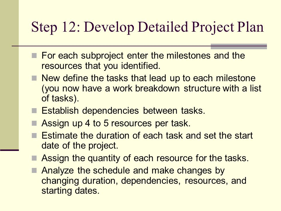 how to develop a work plan for a project