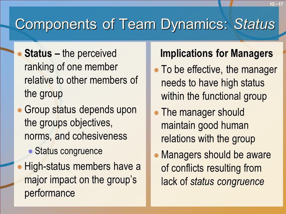 Components of Team Dynamics: Status