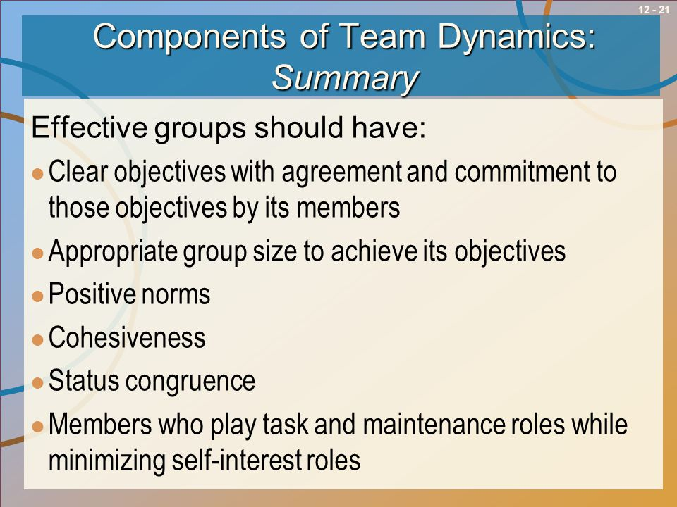 Components of Team Dynamics: Summary