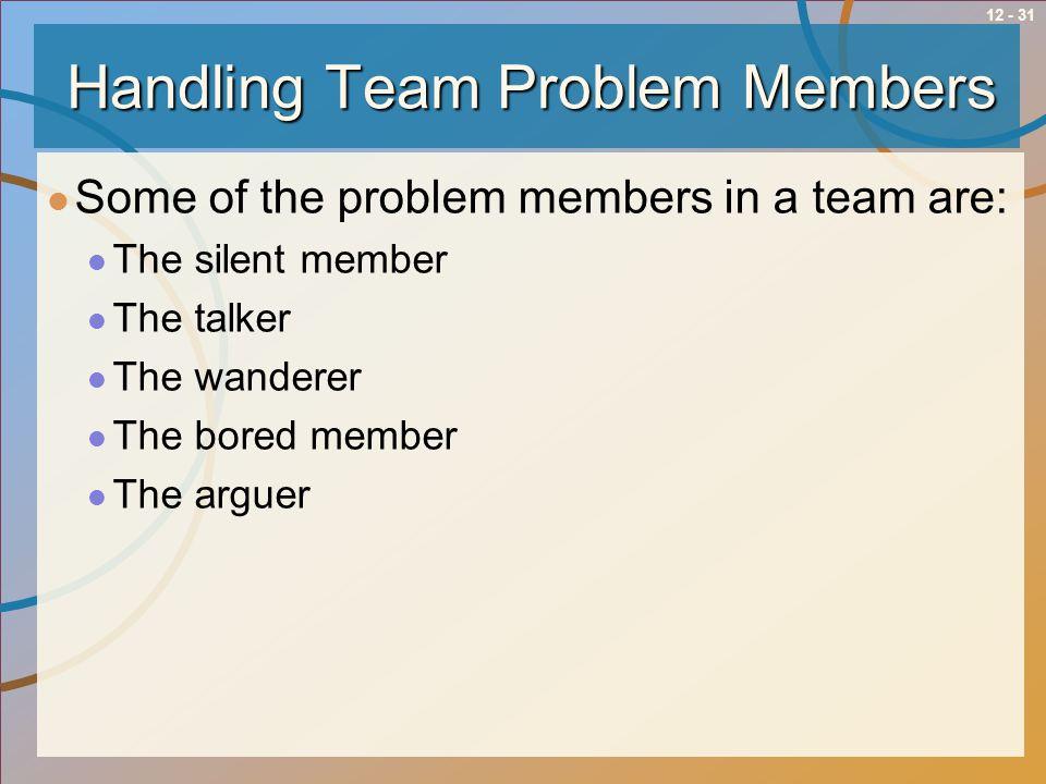 Handling Team Problem Members