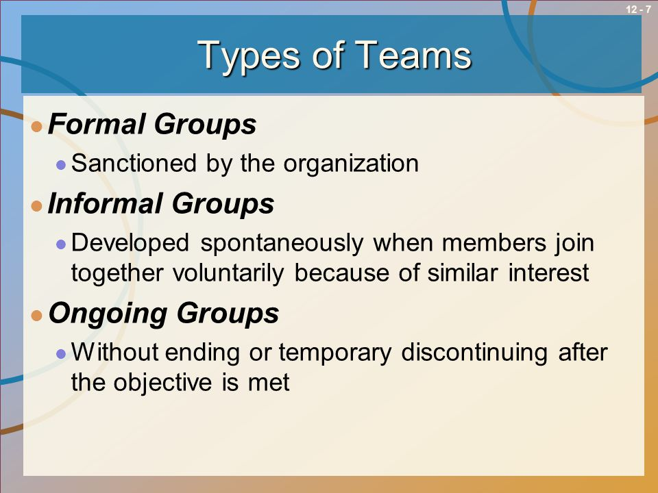 Types of Teams Formal Groups Informal Groups Ongoing Groups