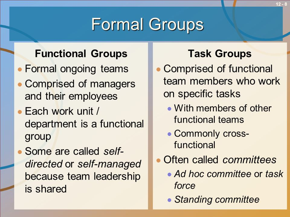 Formal Groups Functional Groups Formal ongoing teams