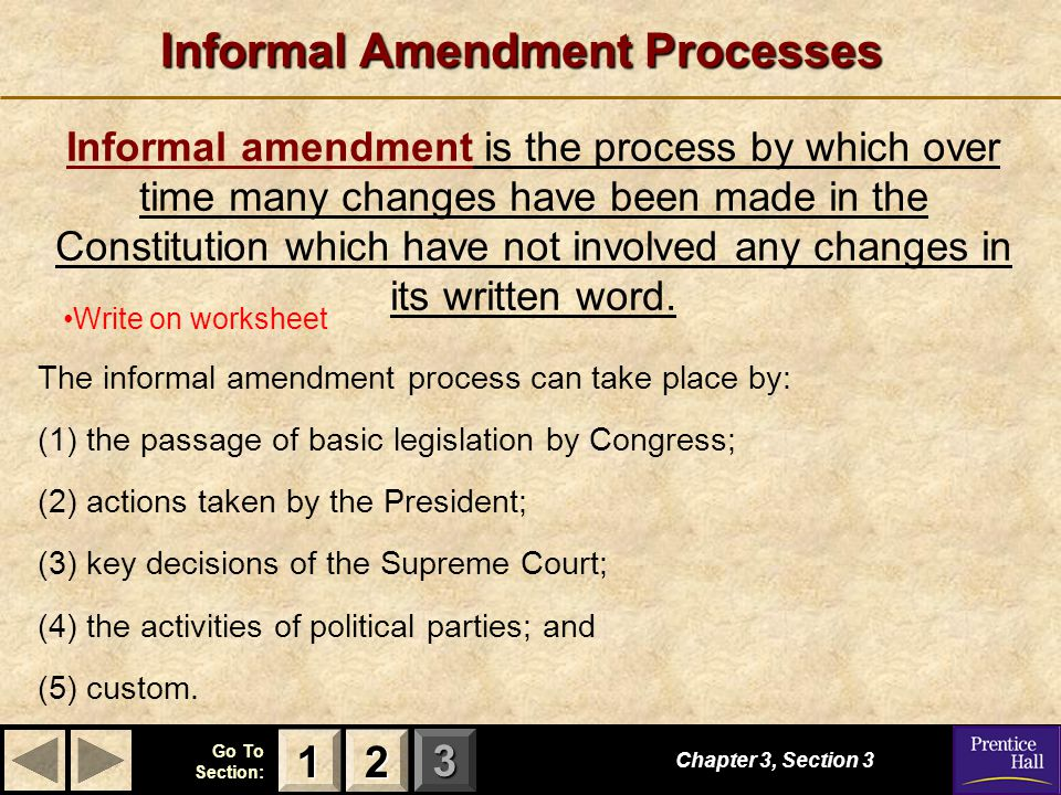 Worksheets Amending The Constitution Worksheet amending the constitution ppt download informal amendment processes