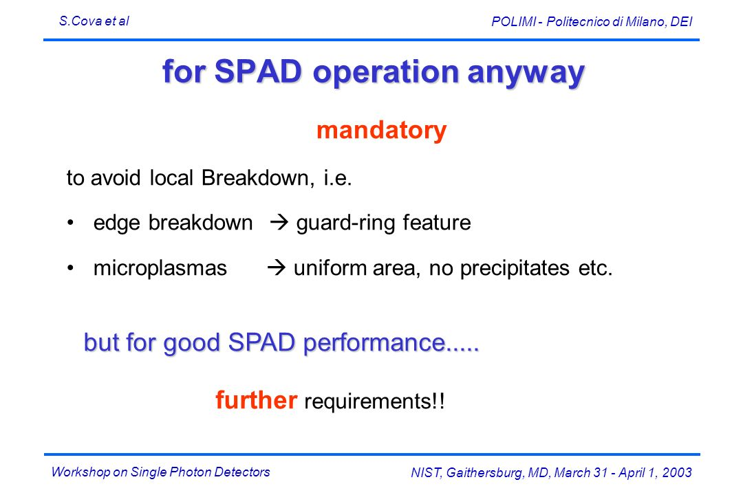 for SPAD operation anyway