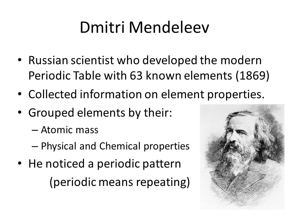 7b16 periodic table elements ppt video online download dmitri mendeleev russian scientist who developed the modern periodic table with 63 known elements 1869 urtaz Image collections