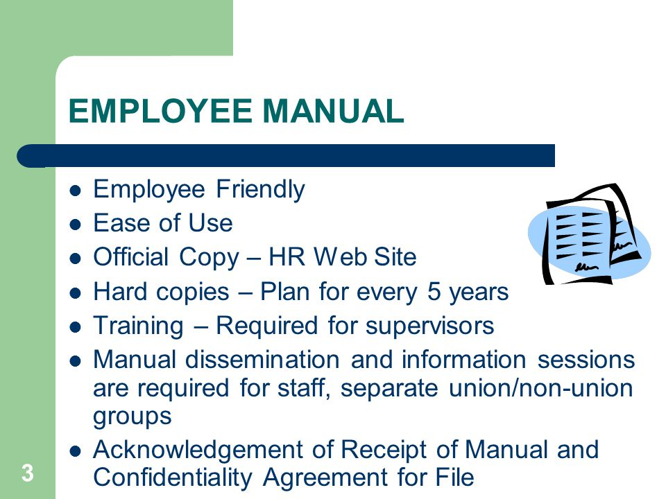 Employee Manual Supervisory Training  Ppt Download