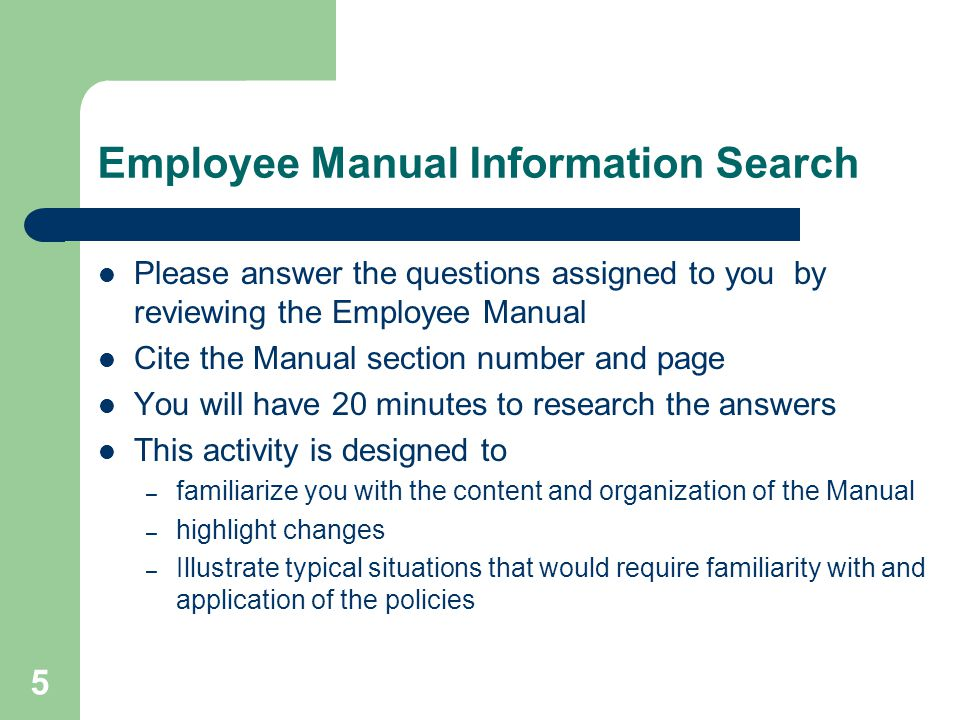 Employee Manual Information Search
