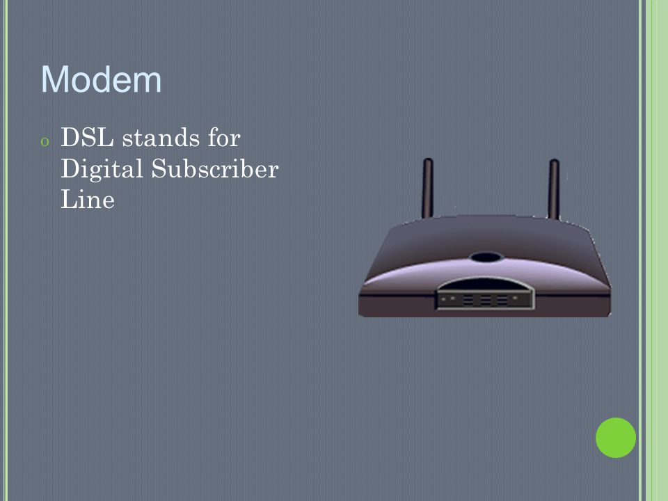 Modem DSL stands for Digital Subscriber Line