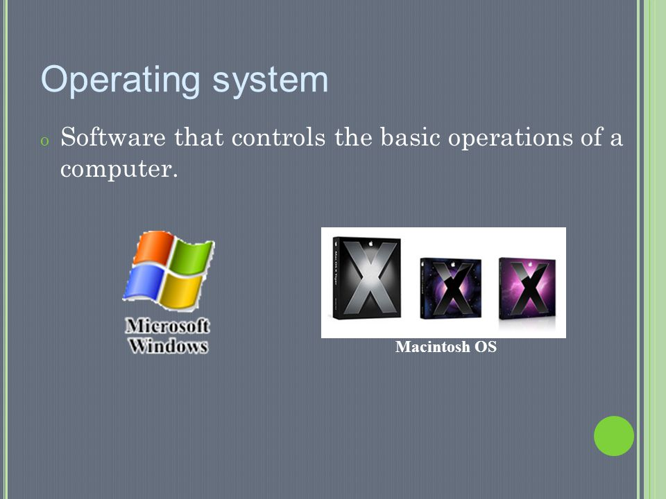 Operating system Software that controls the basic operations of a computer. Macintosh OS
