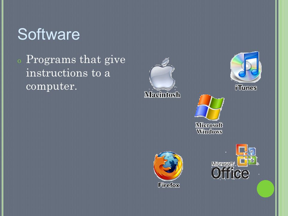 Software Programs that give instructions to a computer.