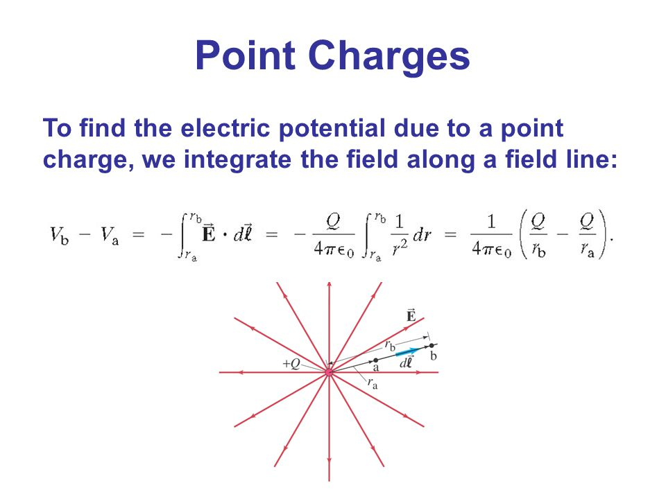 Point Charges To find the electric potential due to a point charge, we integrate the field along a field line: