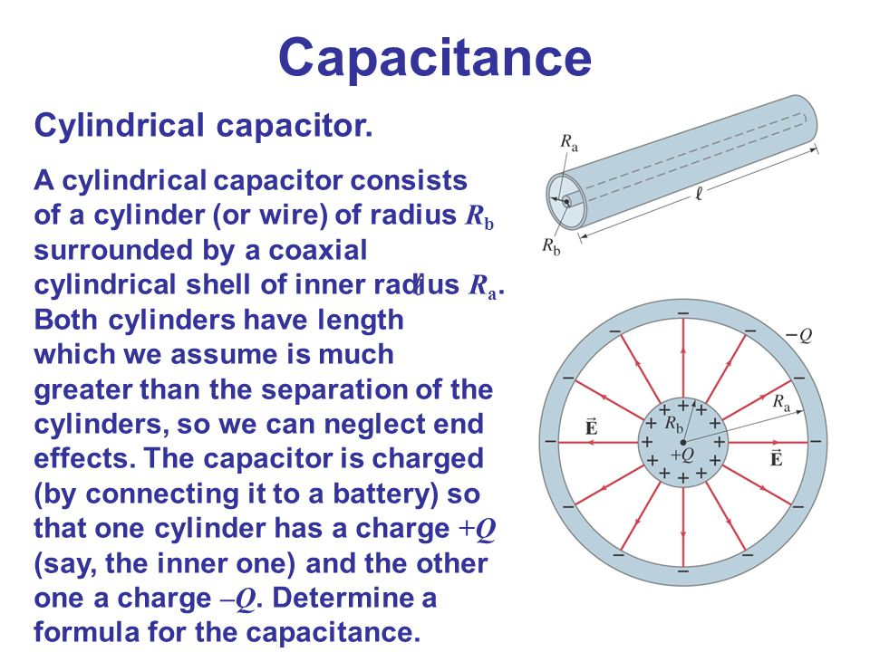 Capacitance Cylindrical capacitor.