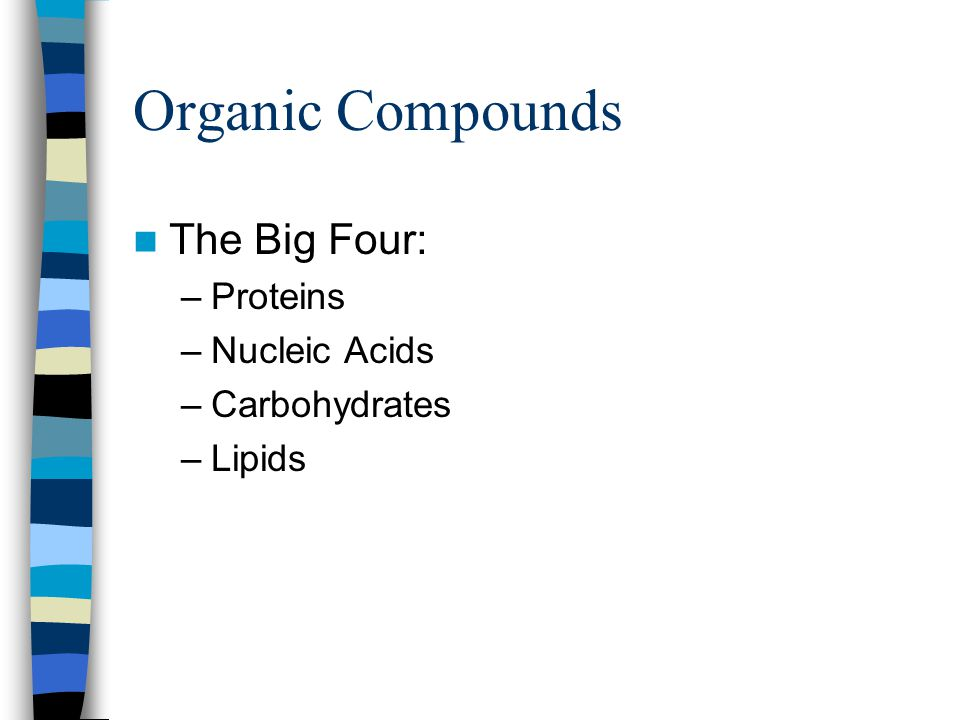 What Are The Four Organic Compounds And Their Building Blocks