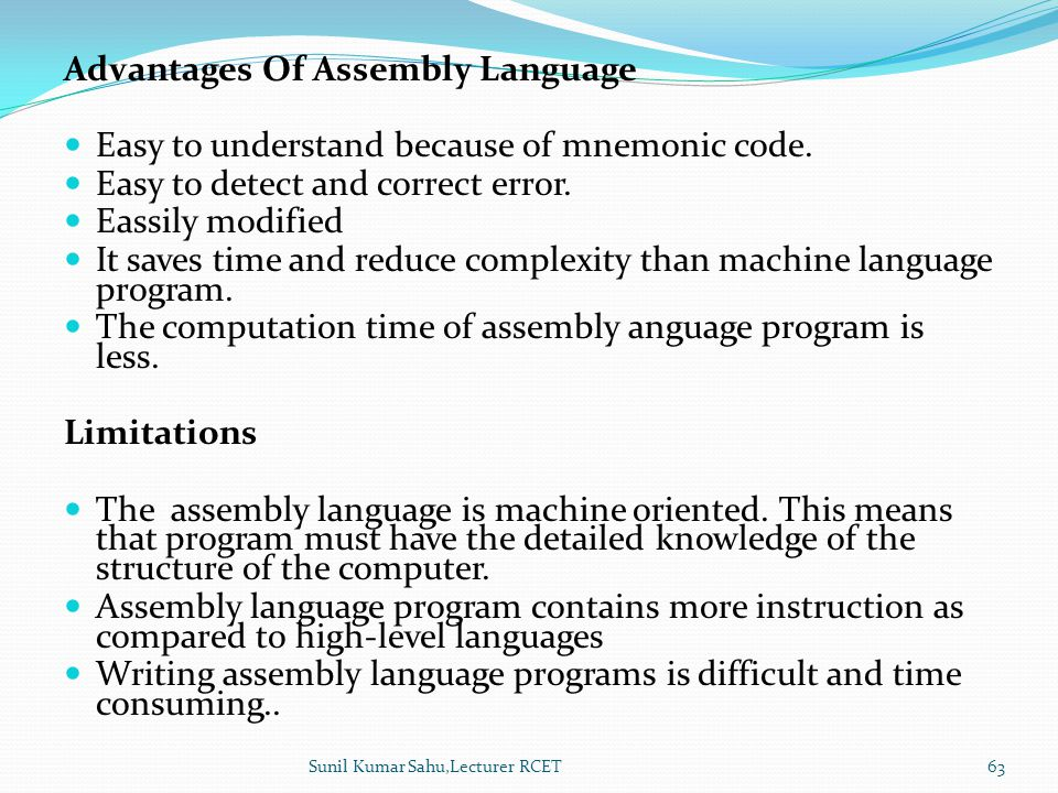 Discuss about assembly language Give advantages and - mandegar info