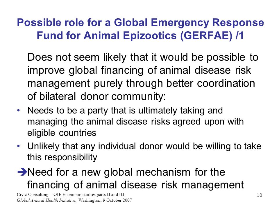 Possible role for a Global Emergency Response Fund for Animal Epizootics (GERFAE) /1