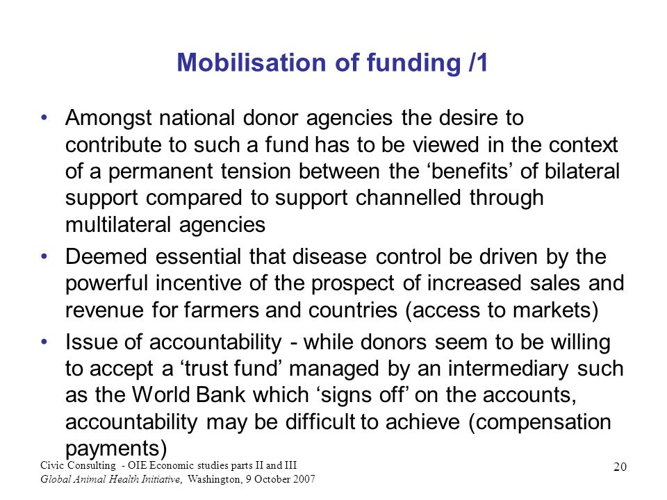 Mobilisation of funding /1