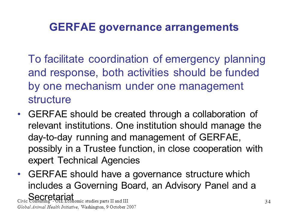 GERFAE governance arrangements