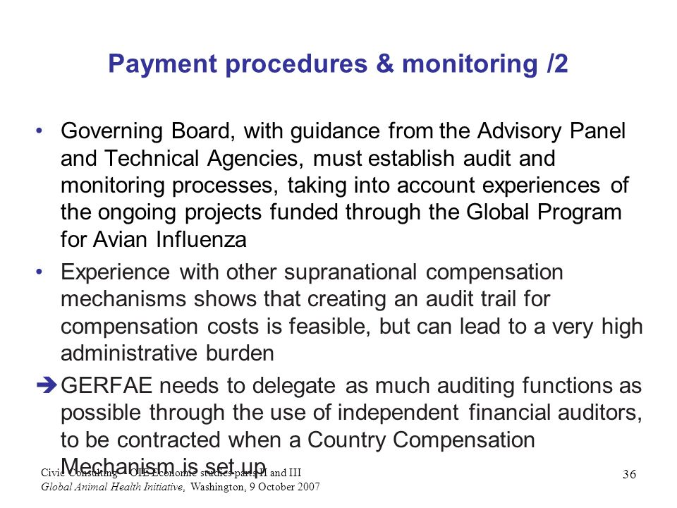 Payment procedures & monitoring /2