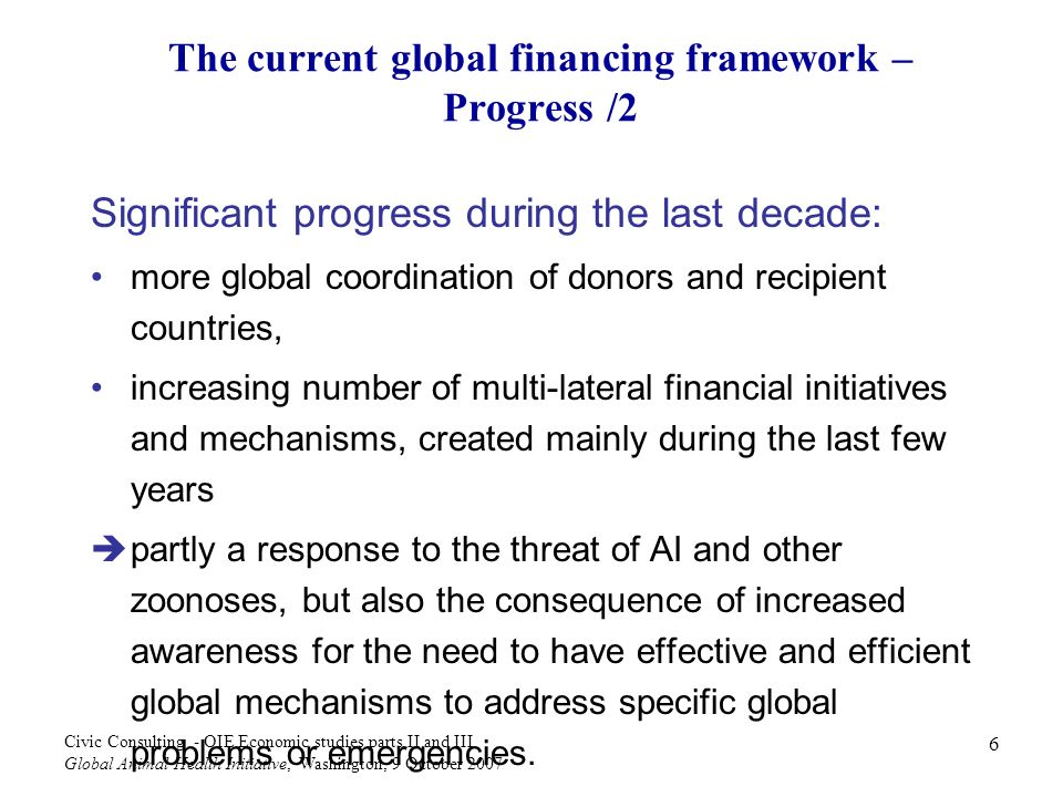 The current global financing framework – Progress /2