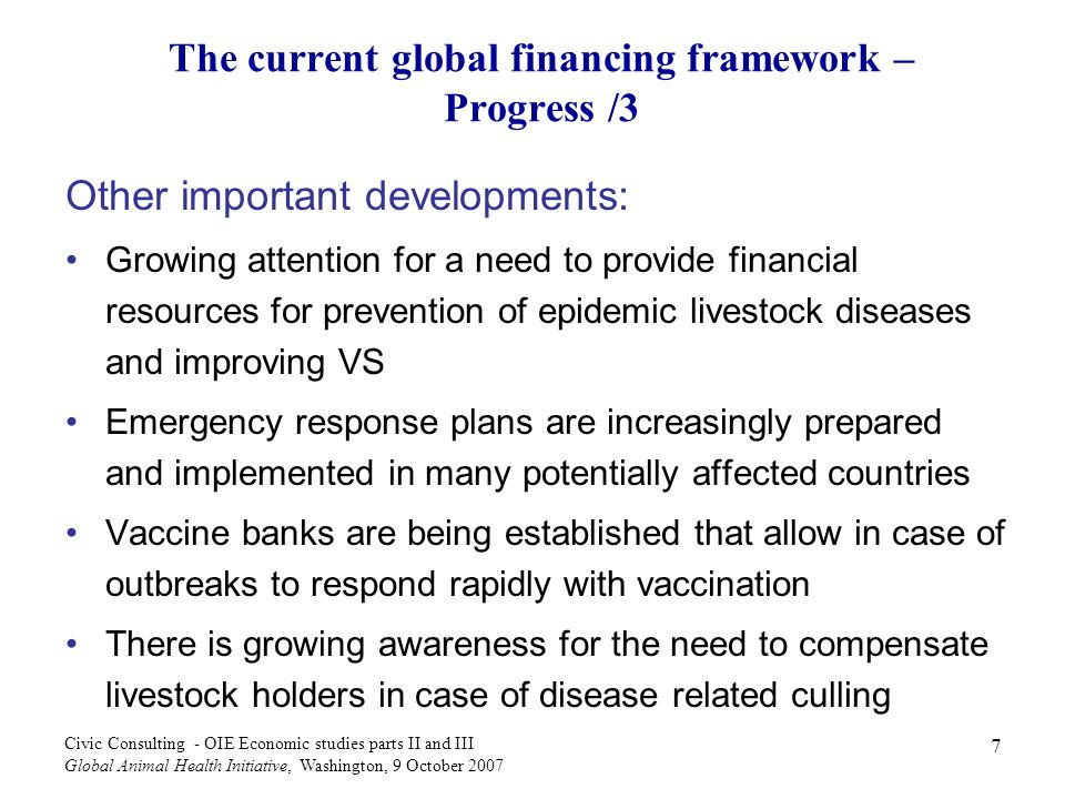 The current global financing framework – Progress /3