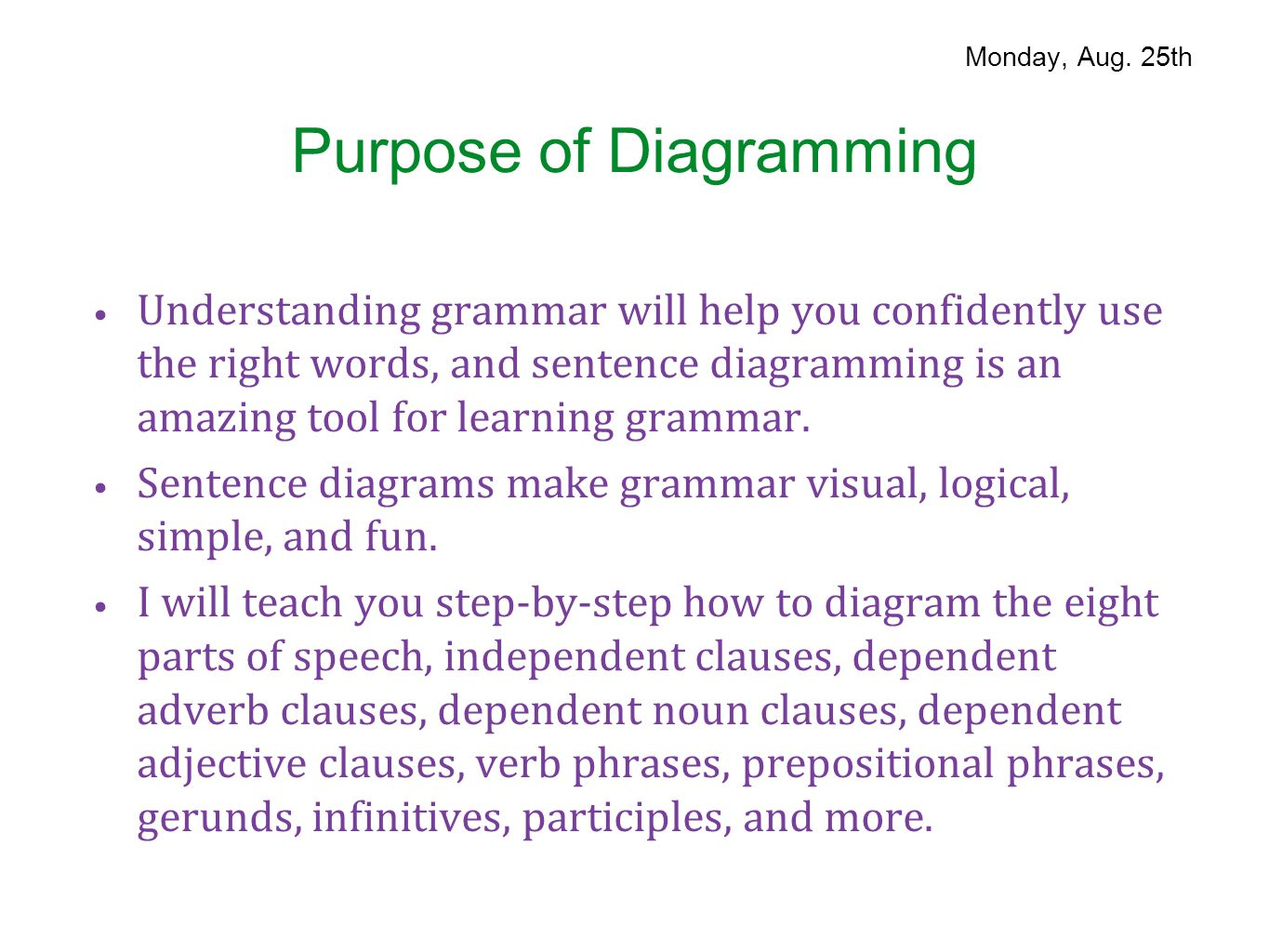 Parts of speech august 25 29 ppt download purpose of diagramming pooptronica