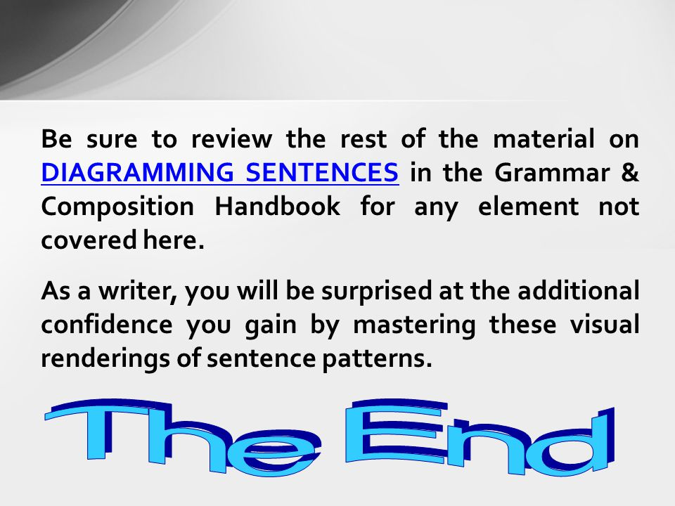 High school english mrs fontana ppt video online download be sure to review the rest of the material on diagramming sentences in the grammar ccuart Images