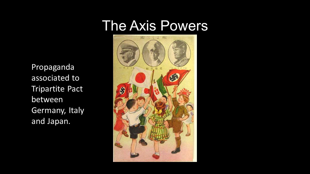 The Axis Powers Propaganda associated to Tripartite Pact between Germany, Italy and Japan.