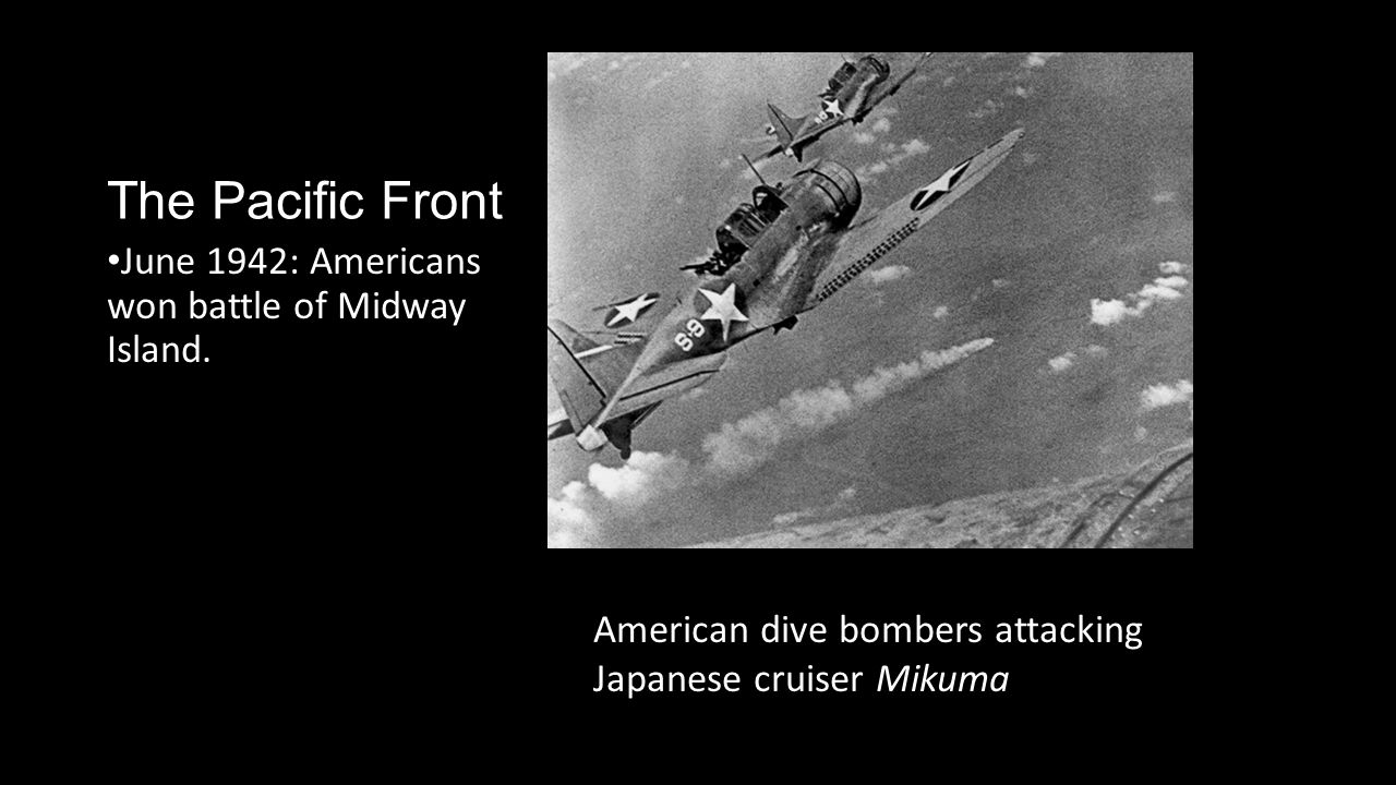 The Pacific Front June 1942: Americans won battle of Midway Island.