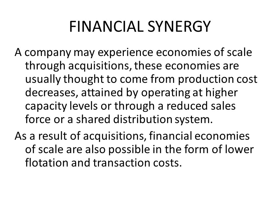 FINANCIAL SYNERGY