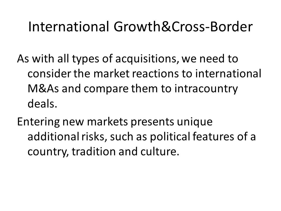 International Growth&Cross-Border