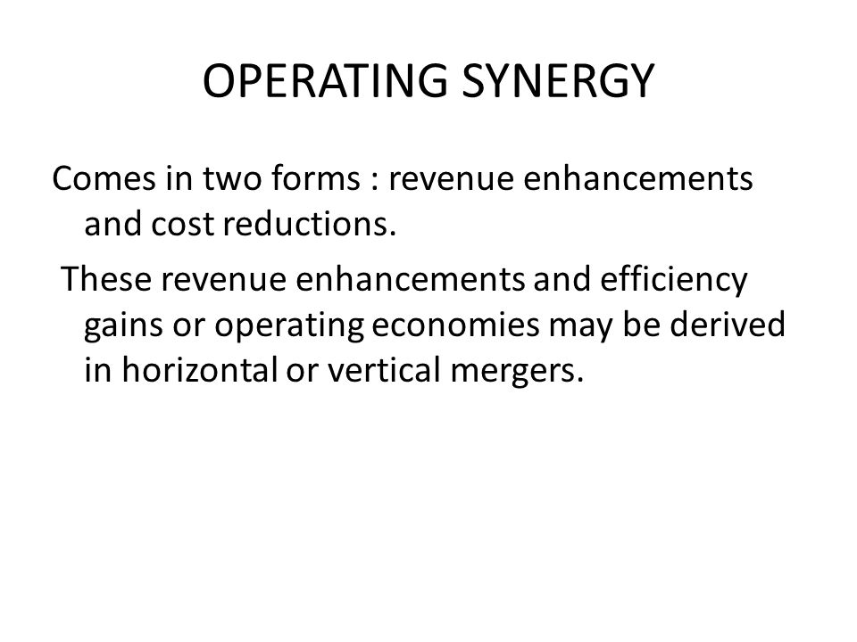 OPERATING SYNERGY