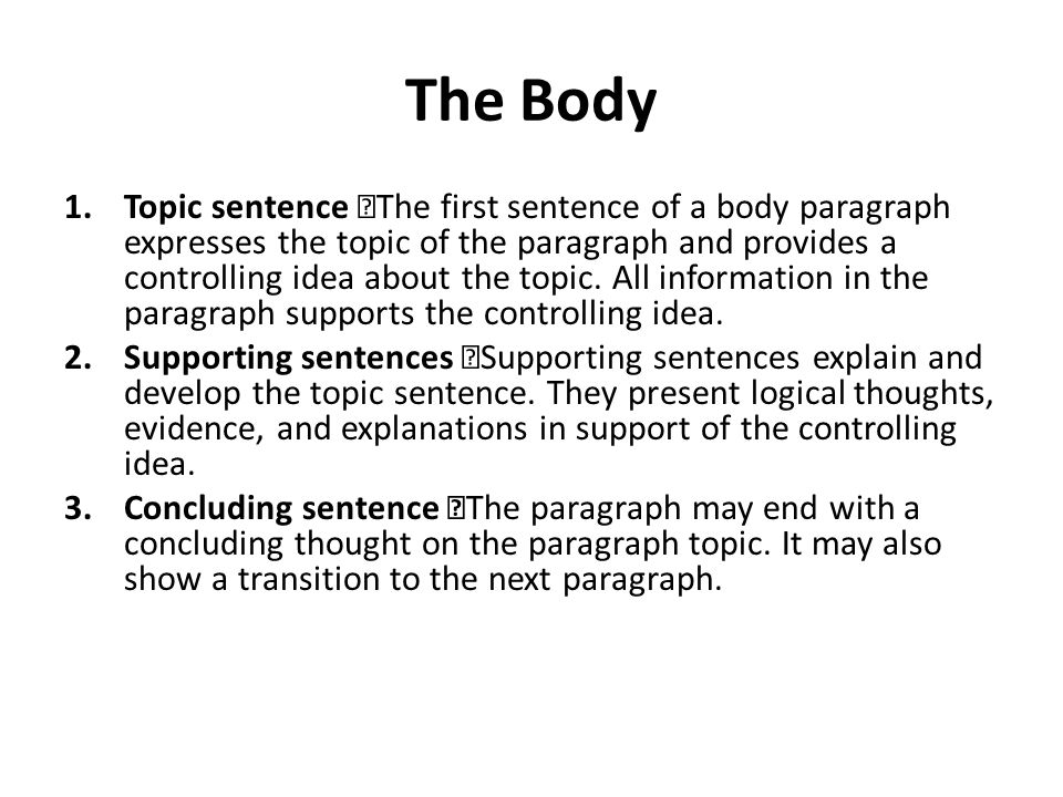 how to start first sentence in body paragraph