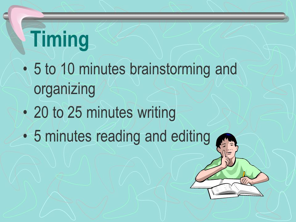 Timing 5 to 10 minutes brainstorming and organizing