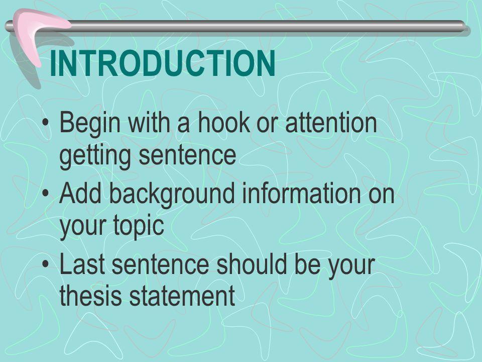 how to start a hook sentence